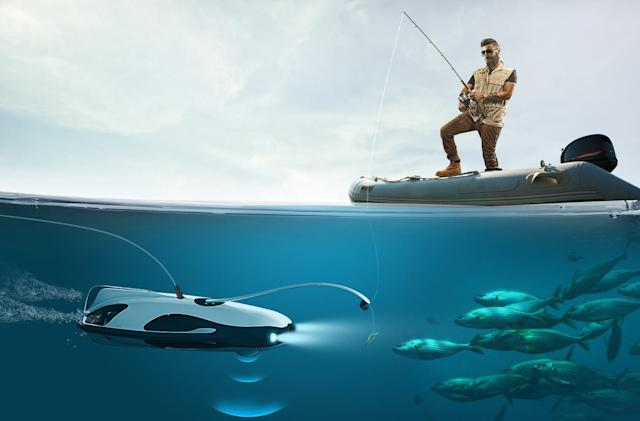 The PowerRay underwater drone finds fish and films them in 4K