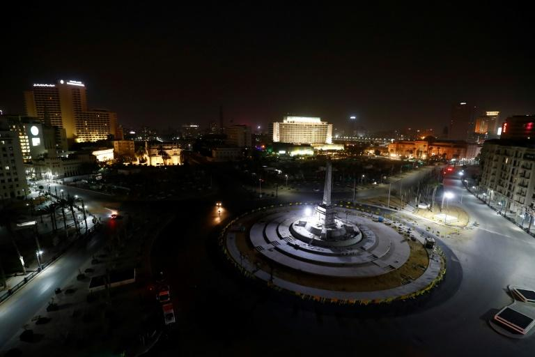 A March 2020 nighttime view of Cairo's Tahrir Square, where US citizen Mohamed Amashah was arrested more than a year earlier