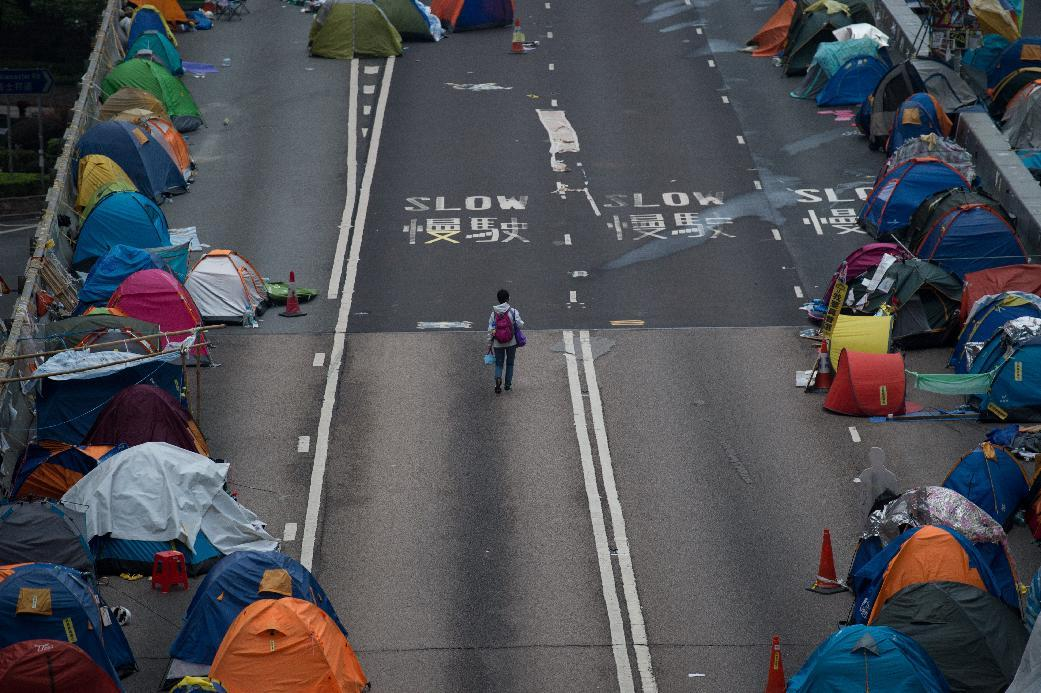 The Hong Kong pro-democracy protesters began blocking three major intersections in late September to demand free leadership elections in the semi-autonomous Chinese city