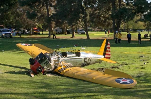 Harrison Ford 'battered, but ok' after crash-landing on a golf course