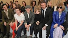 The Beckham family sit front row to support Victoria's London Fashion Week show