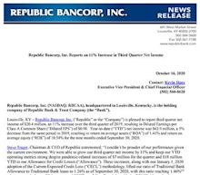 Republic Bancorp, Inc. Reports an 11% Increase in Third Quarter Net Income