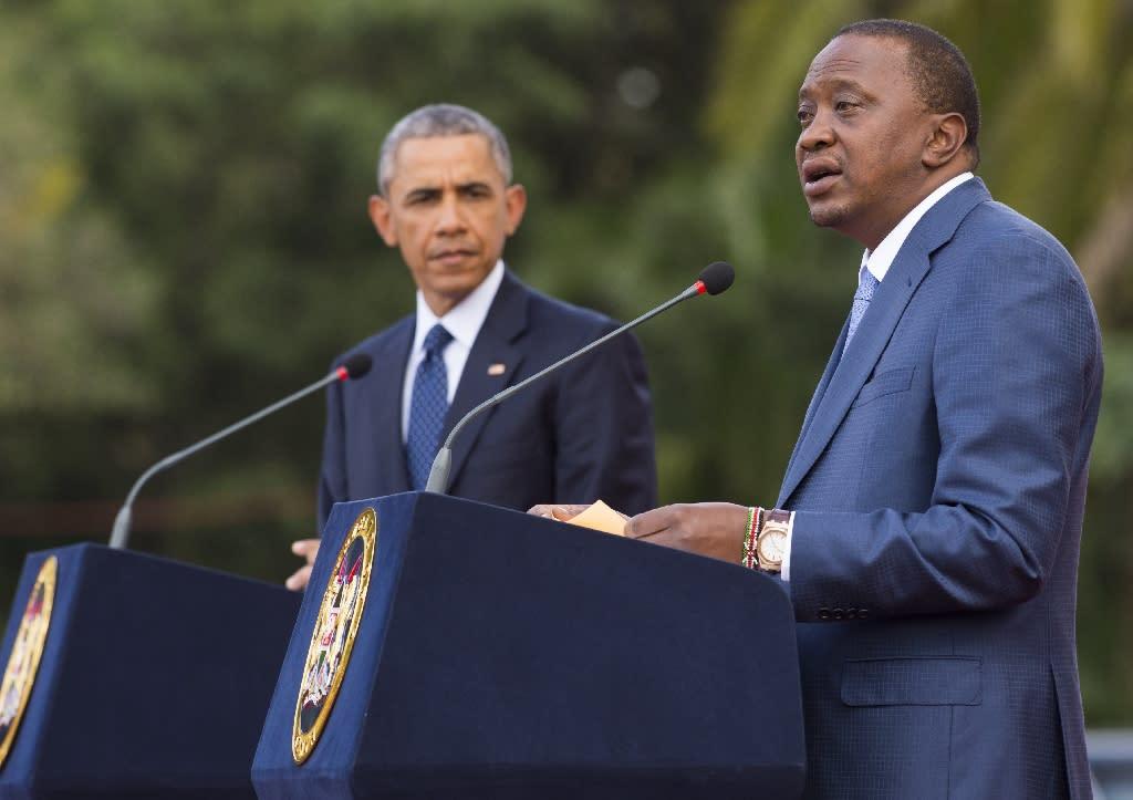 Kenyan President Uhuru Kenyatta (right) pictured with US President Barack Obama in Nairobi on July 25, 2015