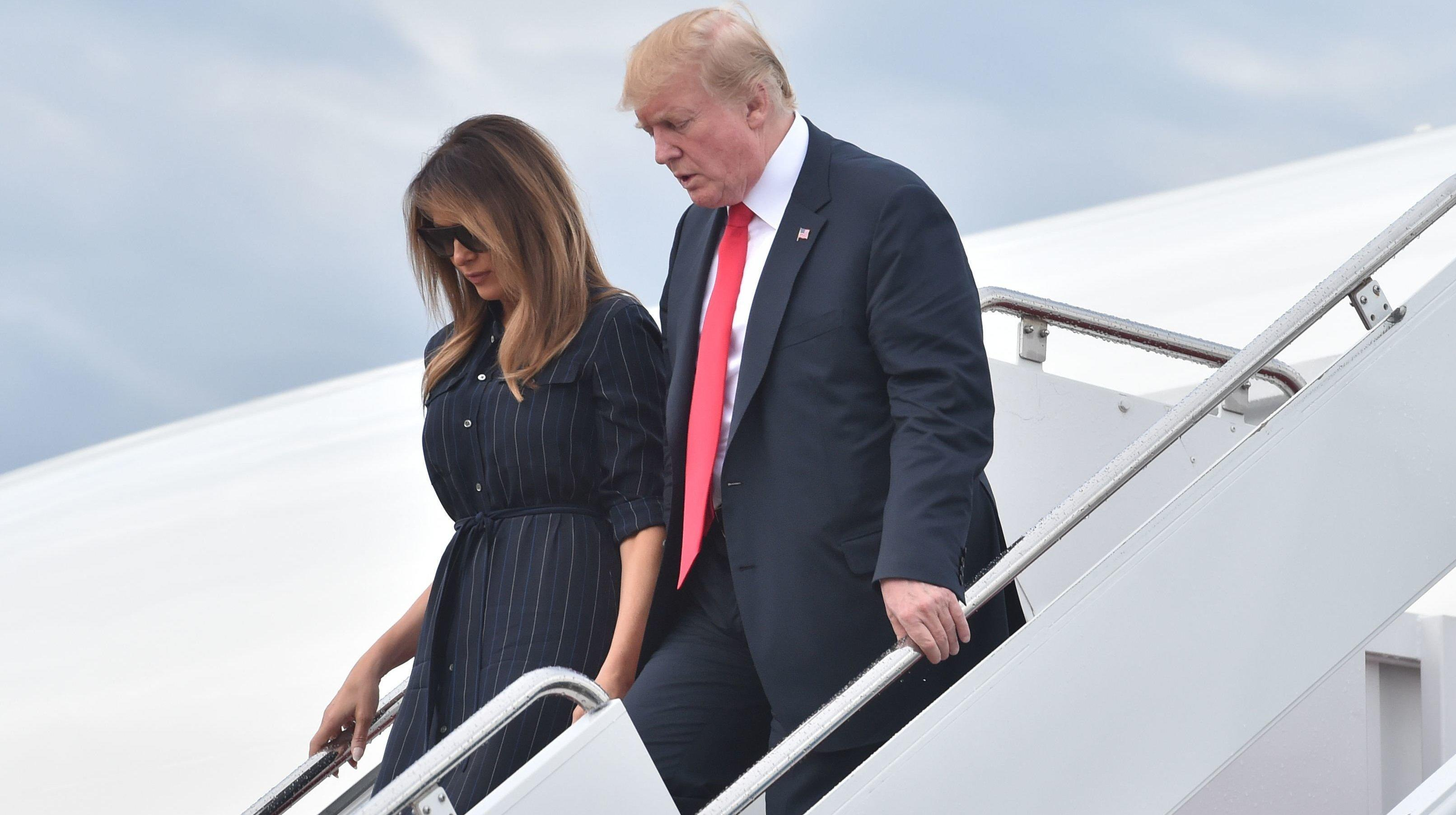 Trump Reportedly 'Caused A Stir' When Melania's TV On Air Force One Was Turned To CNN