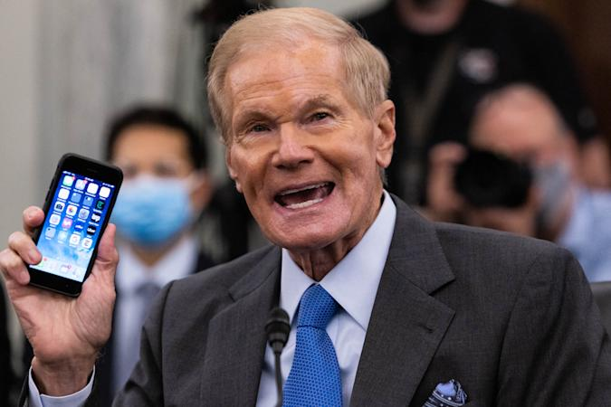 Former US Senator Bill Nelson, nominee to be administrator of NASA, speaks during a  Senate Committee on Commerce, Science, and Transportation confirmation hearing on Capitol Hill in Washington, DC, April 21, 2021. (Photo by Graeme Jennings / POOL / AFP) (Photo by GRAEME JENNINGS/POOL/AFP via Getty Images)