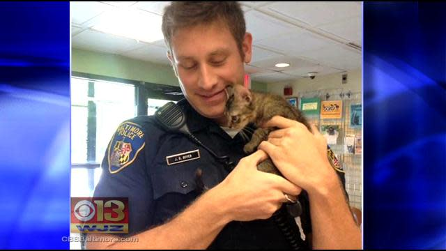 Picture Goes Viral After Baltimore City Police Officer Saves Kitten