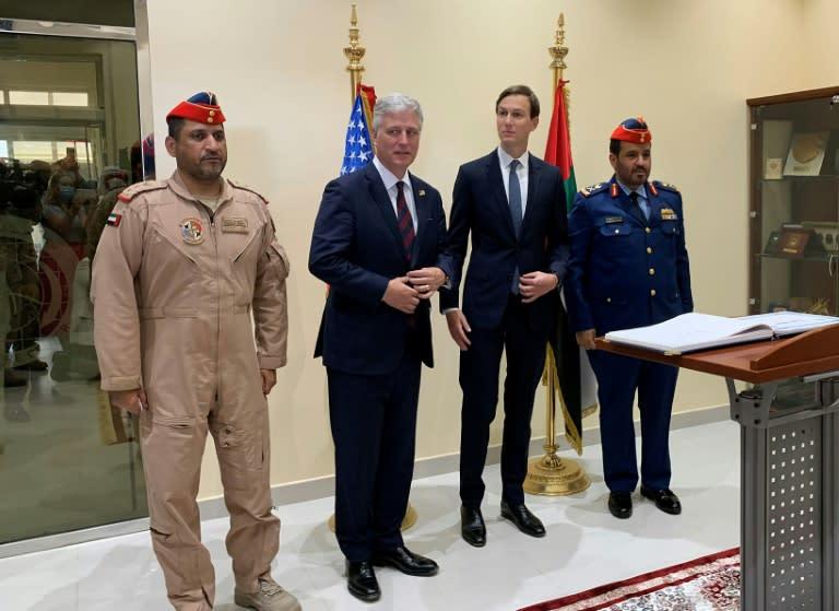 US Presidential adviser Jared Kushner (C-R) and US National Security Adviser Robert O'Brien (C-L) met with Emirati military officials at the UAE's Al-Dhafra air base
