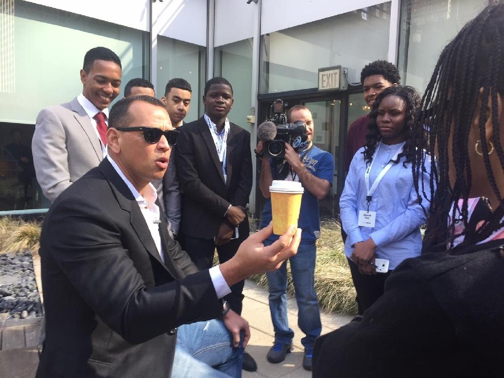 """Baseball legend Alex A-Rod Rodriguez talks with students from high schools and colleges in the Bronx about a real estate literacy program, """"Project Destined"""", on March 3, 2018 at Viacom in Times Square, New York City. (AFP Photo/Laura BONILLA CAL)"""
