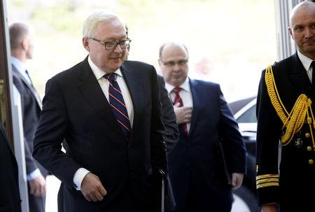 Finnish President Niinisto (not in picture) meets Deputy Foreign Minister of the Russian Federation Ryabkov at the President's Official Residence Mantyniemi in Helsinki