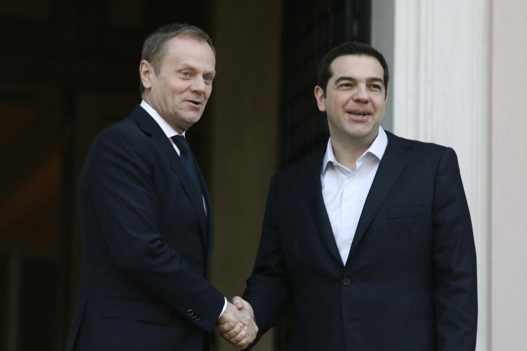 European Council President Donald Tusk (left) held talks with Greek Prime Minister Alexis Tsipras in Athens, on March 3, 2016 (AFP Photo/Panayotis Tzamaros)