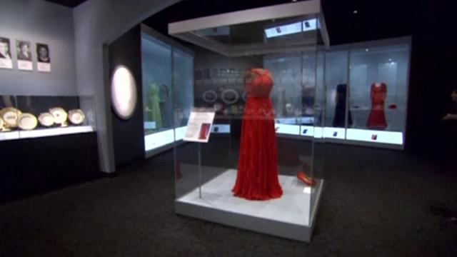 Michelle Obama's red inaugural gown goes on display