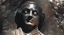 Humorous vandal puts googly eyes on a Revolutionary War hero statue, but officials call it 'no laughing matter'