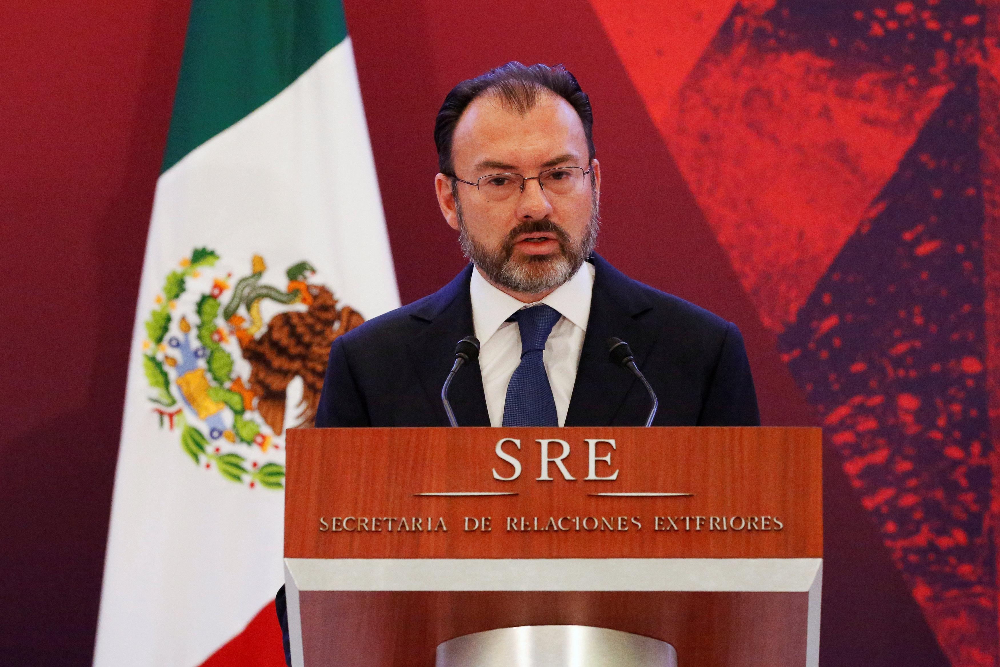 Mexico's Foreign Minister Luis Videgaray delivers a speech during a meeting with diplomatic corps in Mexico City