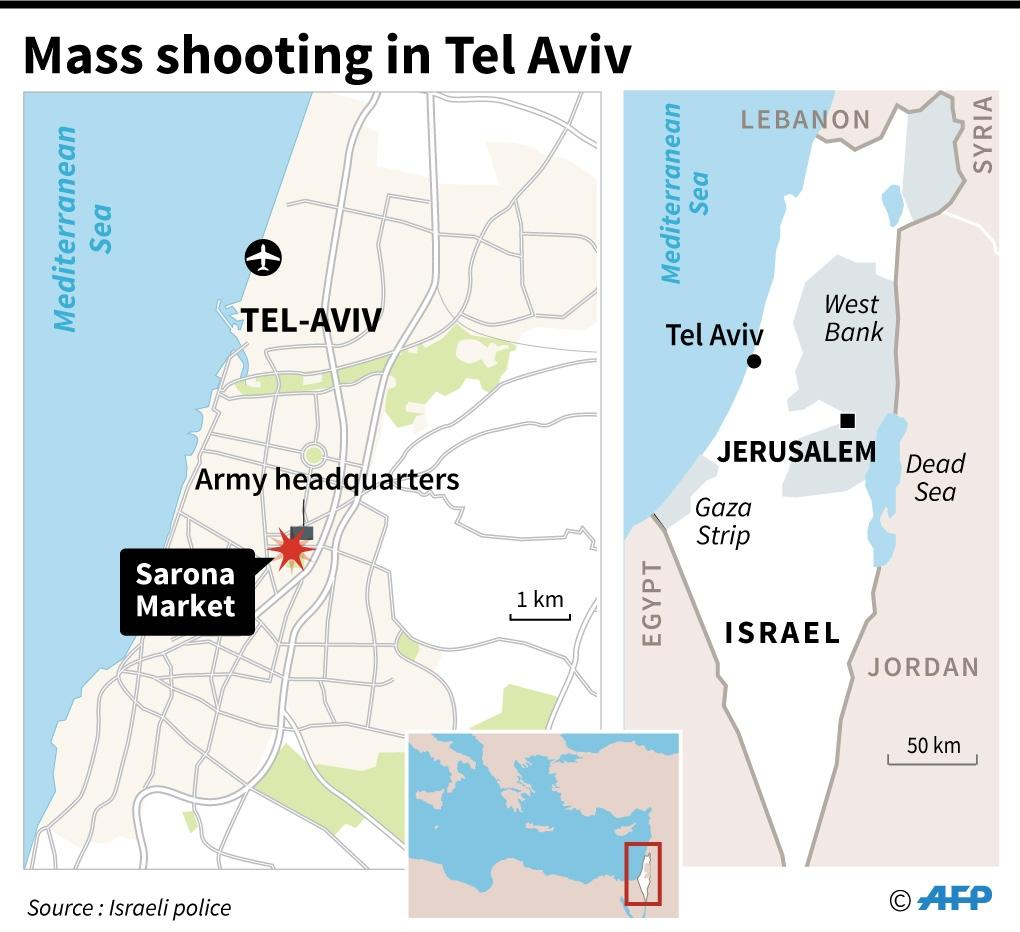 A mass shooting in Tel Aviv killed four and wounded 15 (AFP Photo/)