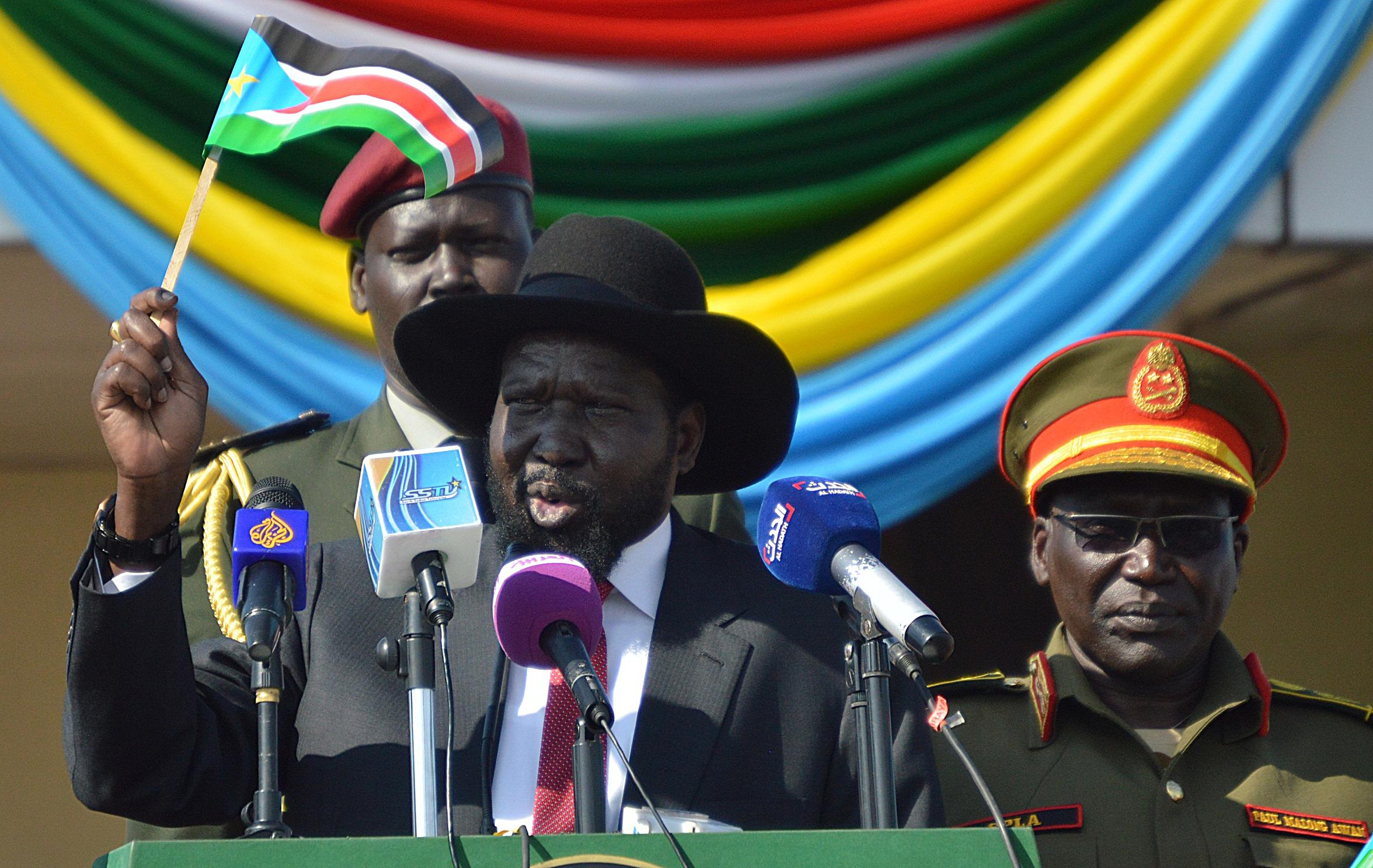 South Sudan's President Salva Kiir gives a speech at the airport in Juba on August 10, 2014