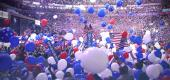 Hoopla and balloons at a U.S. presidential nominating convention. (Yahoo News; photo: Getty Images)