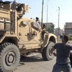 US Military Vehicles Pelted With Fruit and Stones by Kurdish Locals During Withdrawal