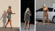 Kim Kardashian debuts her husband's new Yeezy line while performing 'errands'