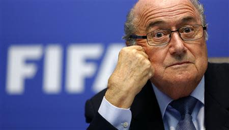 FIFA President Sepp Blatter addresses the media after a meeting of the executive committee in Zurich