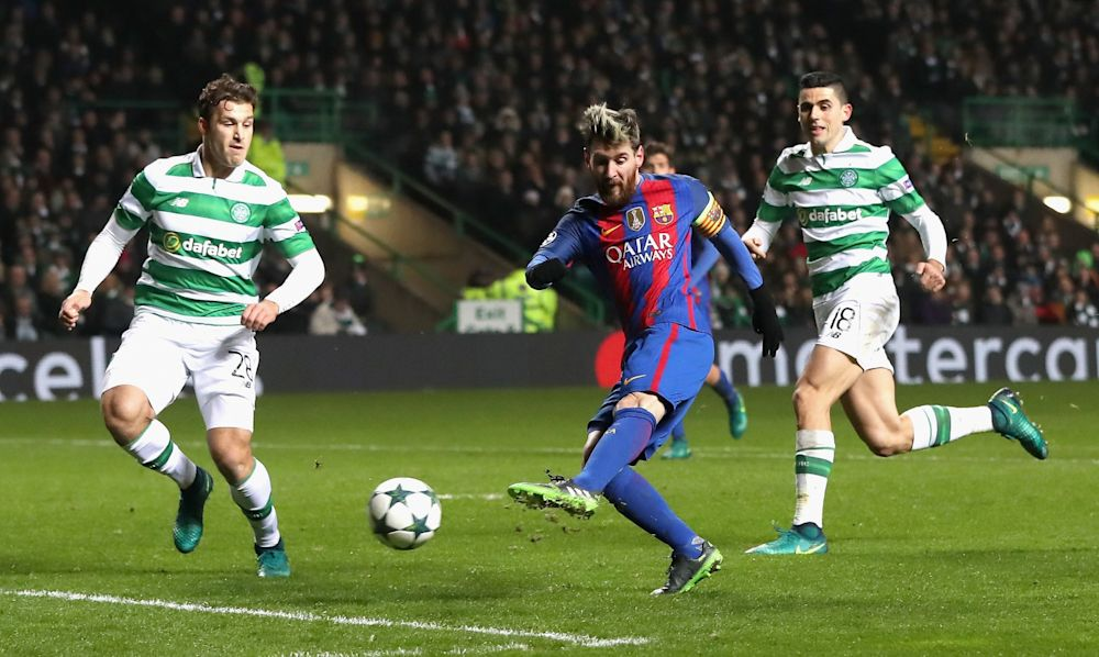 Lionel Messi scored a hat trick as Celtic were hammered 7-0 in Barcelona