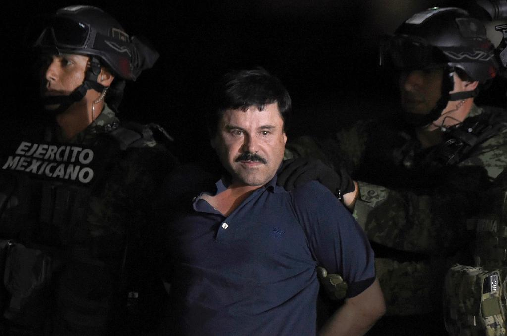 "Joaquin ""El Chapo"" Guzman, pictured in Mexico after his recapture in January 2016, is one of the world's most notorious criminals and is on trial accused of spending a quarter of a century smuggling cocaine into the United States (AFP Photo/ALFREDO ESTRELLA)"
