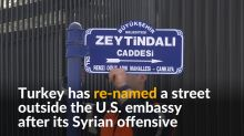 Turkey renames street outside U.S. embassy after Syrian offensive
