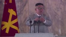 North Korean leader chokes up during speech
