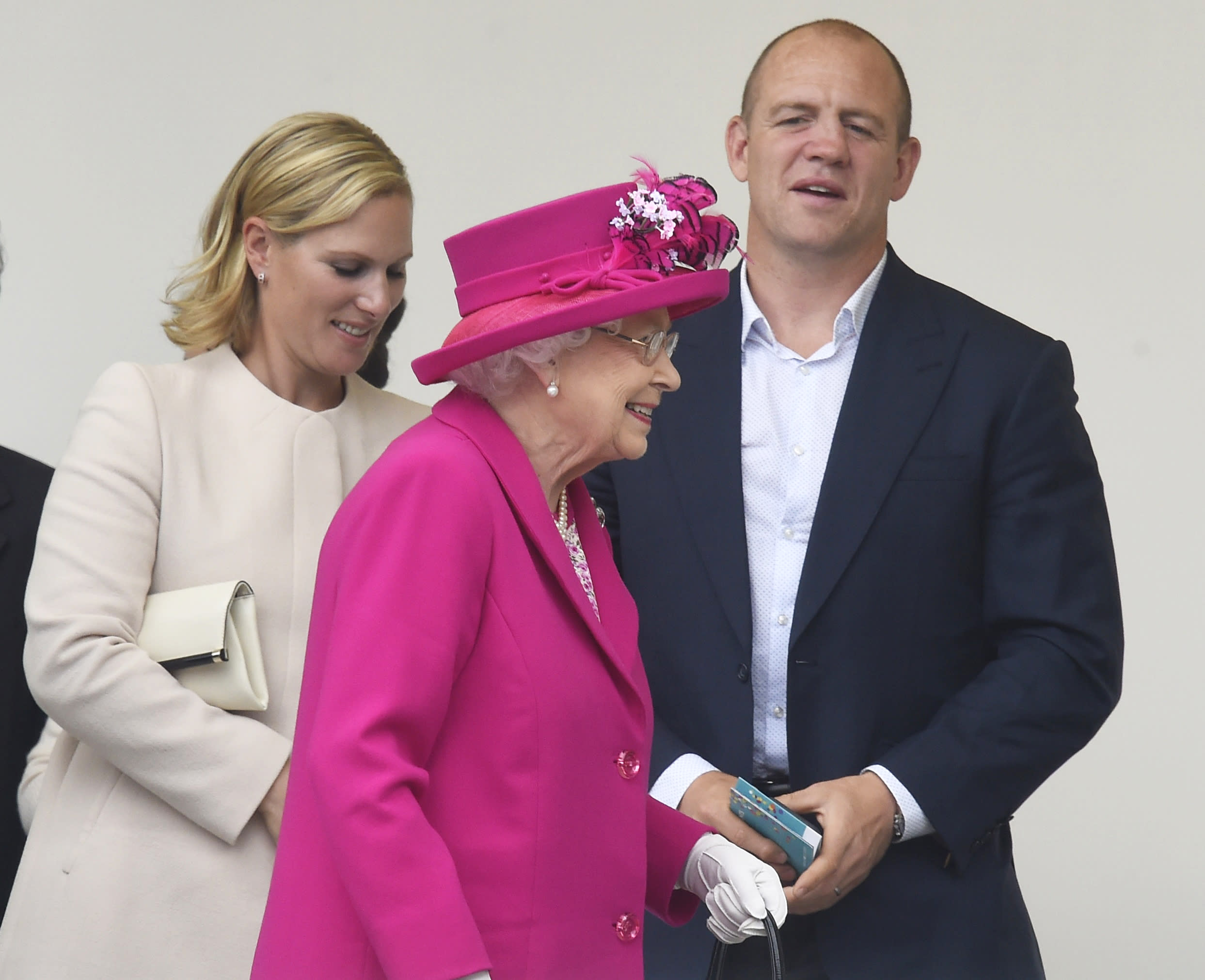 Zara and Mike Tindall leave with Britain's Queen Elizabeth after they attended the Patron's Lunch on the Mall, an event to mark the queen's 90th birthday, in London, June 12, 2016.   REUTERS/Toby Melville
