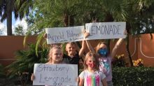 A single mother of four has been forced to rely on her young children's lemonade stand as a sole source of income after losing her job during the pandemic