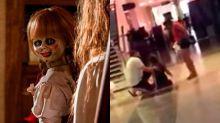 ¡Mira el video! Una mujer sufrió una supuesta posesión mientras veía Annabelle: Creation