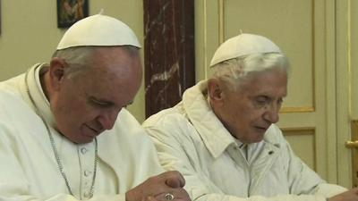 Raw: Pope Francis Meets With Former Pope