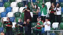 Glentoran win Irish Cup during first UK match played in front of fans