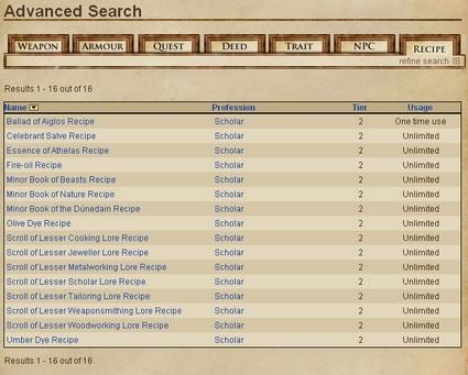 LotRO Lorebook features guide on using the Advanced Search function