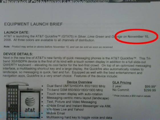 AT&T Quickfire launching November 10