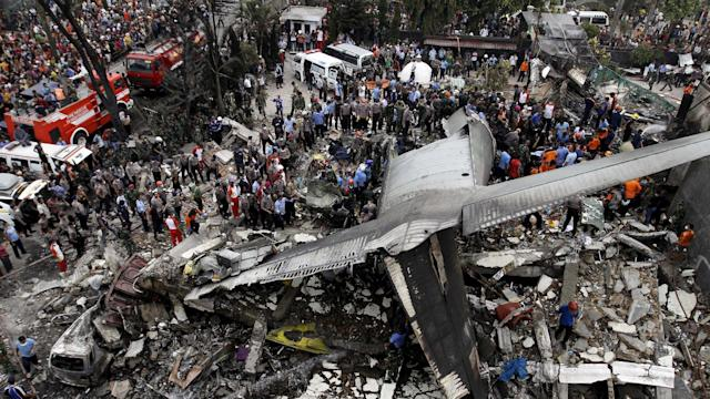 Indonesia military cargo plane crashes in Medan, dozens dead