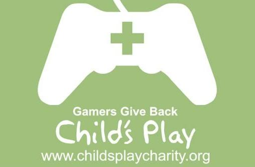 Cheap Ass Gamer holding Child's Play donation drive