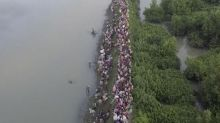 Rohingya crisis drone footage shows thousands of Muslims fleeing Burma