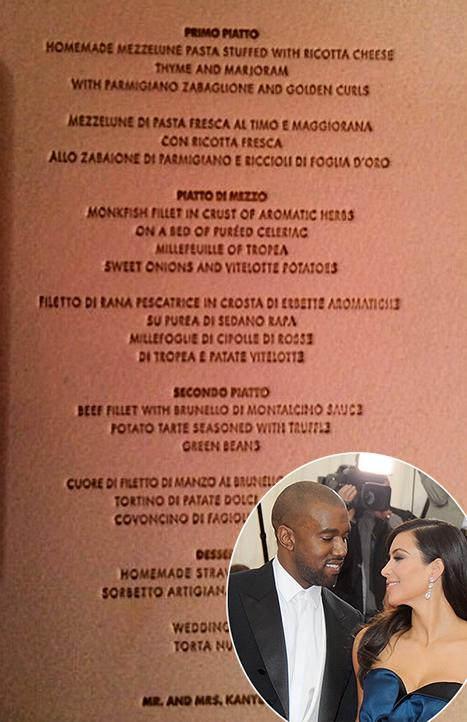 Kim Kardashian Kanye Wests Wedding Reception Menu See What The