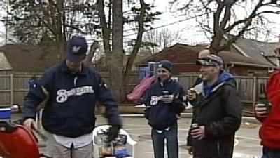 Brewers Fans Tailgate Outside Parking Lot