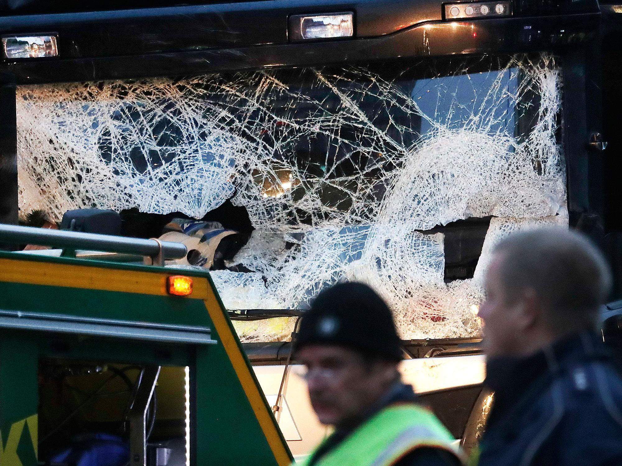 <p>The smashed window of the cabin of a truck which ran into a crowded Christmas market Monday evening killing several people Monday evening is seen in Berlin, Germany, Tuesday, Dec. 20, 2016. (AP Photo/Markus Schreiber) </p>