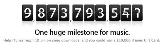 Apple's iTunes nears 10 billionth song download