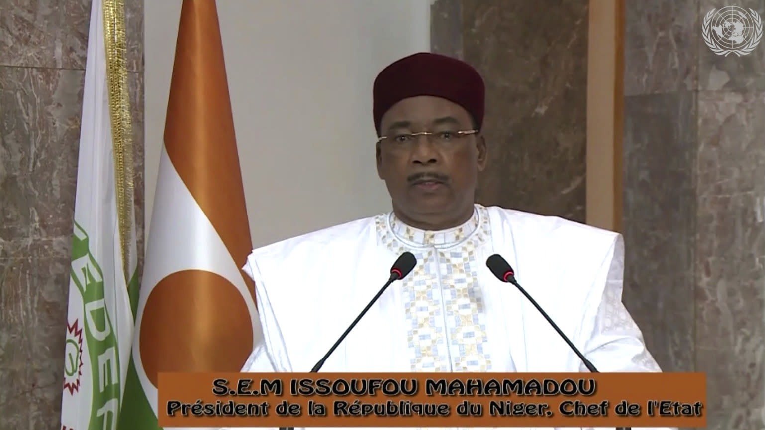In this image made from UNTV video, Mahamadou Issoufou, President of the Niger, speaks in a pre-recorded message which was played during the 75th session of the United Nations General Assembly, Thursday Sept. 24, 2020, at UN headquarters. (UNTV via AP)