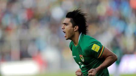 Marcelo Moreno comemora gol da Bolívia contra a Argentina