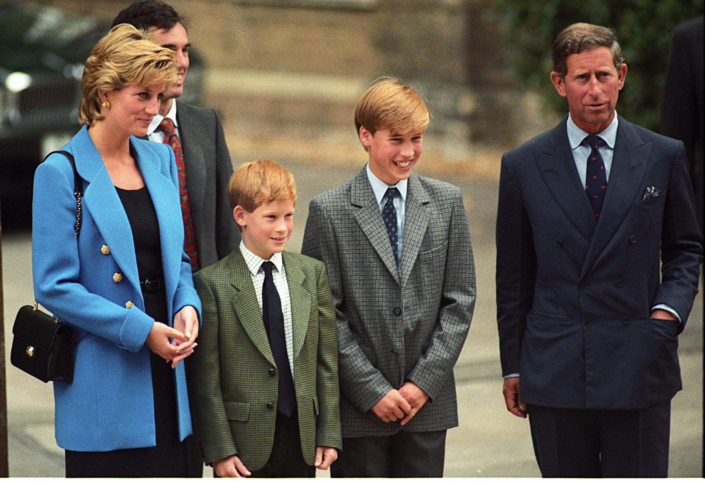 Princess Diana, Prince Harry, Prince William, Prince Charles at William's first day at Eton.