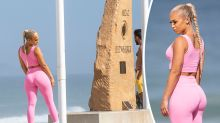 Influencer Tammy Hembrow's sultry photo shoot next to War Memorial