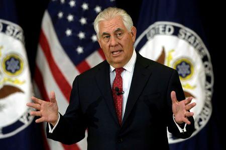 FILE PHOTO: U.S. Secretary of State Rex Tillerson delivers remarks to the employees at the State Department in Washington