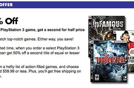 Buy one PS3 game at BestBuy.com, get a second for 50% off
