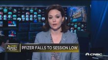 Pfizer falls to session low