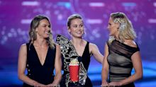 Brie Larson brings her 'Captain Marvel' stunt doubles on stage to accept MTV Movie Award