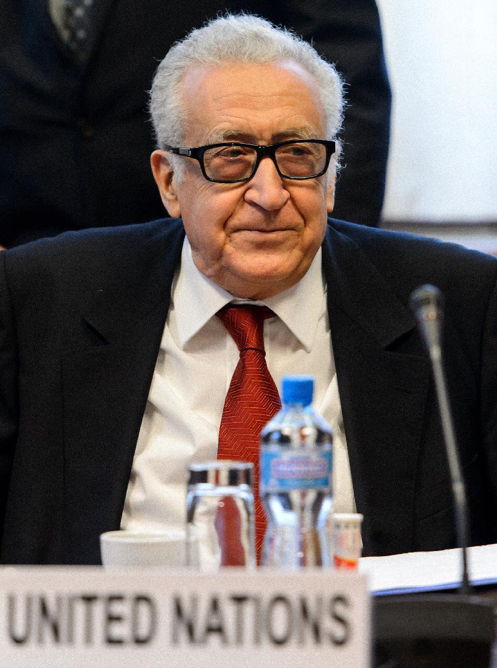 UN-Arab League envoy Lakhdar Brahimi attends a meeting at the United Nations office in Geneva, Switzerland, Friday, Dec. 20, 2013. Brahimi is meeting with U.S. and Russian delegations to try to agree which nations should be invited to Syria peace talks in Geneva next month. (AP Photo/Fabrice Coffrini, Pool)